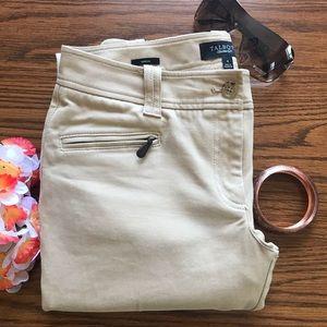 Talbots Signature Tan Pants two zippers pockets